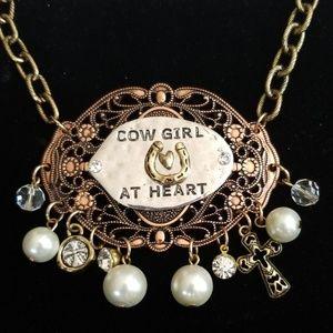 "Boho ""Cow Girl At Heart"" Charm Necklace Handmade"